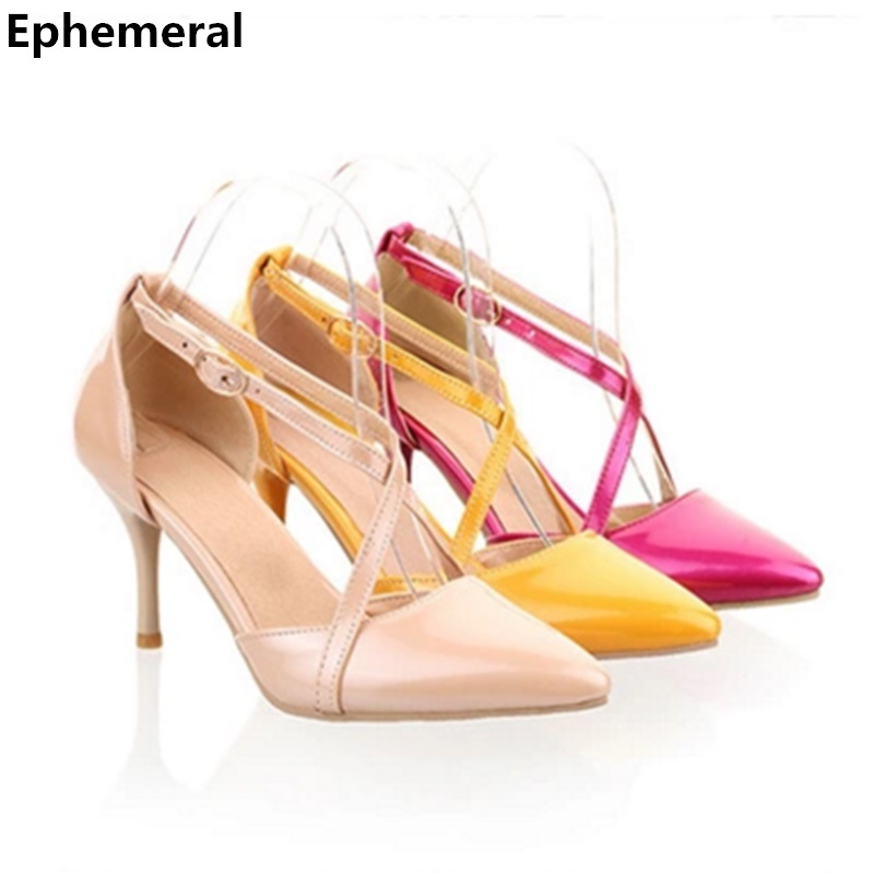 2017 fashion Lady's 2.4 big size 34-45 Sexy pointed toe PU Buckle Strap soft leather high heel sandal shoes beige/black/red pu pointed toe flats with eyelet strap