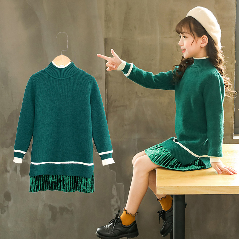 Little Girls Children Green Yellow Long Turtleneck Knitted Sweater Dress For Teens Gilrs School Dress New Autumn Winter 2018 56 футболка print bar twenty one pilots джош дан