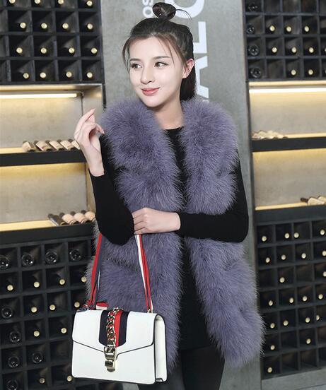 Вязаный жилет из натурального меха страуса, роскошный Фабричный OEM заказной меховой жилет из турецких перьев WSR115 - Цвет: PurpleGrey