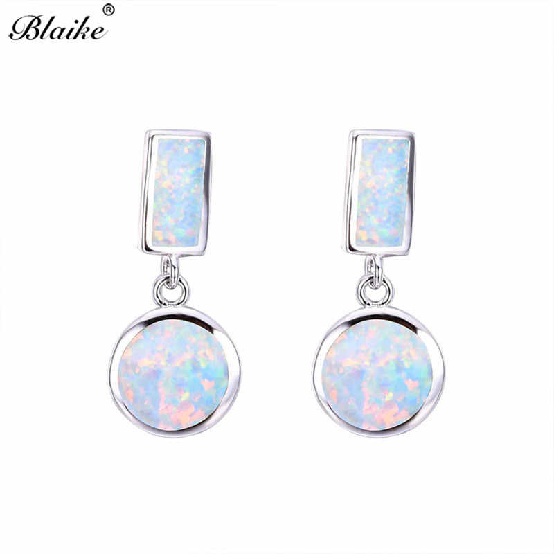 Blaike Big Round White/Blue Fire Opal Dangle Earrings for Women 925 Sterling Silver Filled Birthstone Drop Earring Wedding Gifts