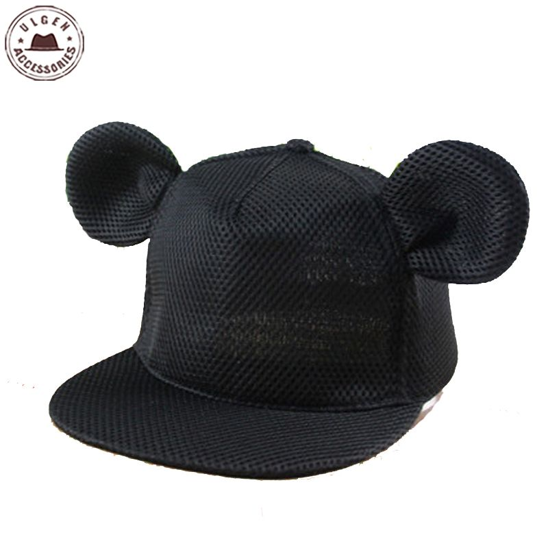 Prix pour Nouveau mignon souris oreille chapeau filles maille d'été chapeau hanche hop Snapback chapeau pour les femmes mignon souris chapeaux mickey Baseball Caps