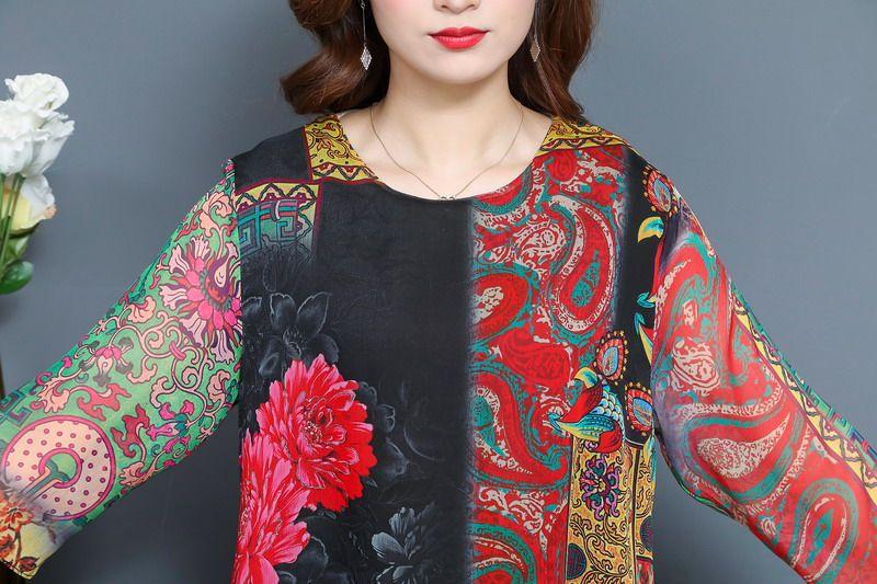 Oriental Style Women Summer Dresses Black Red Ethnic Check Pattern Chiffon One Piece Vestidos Half Sleeve O-neck Silk Dress Woman (7)