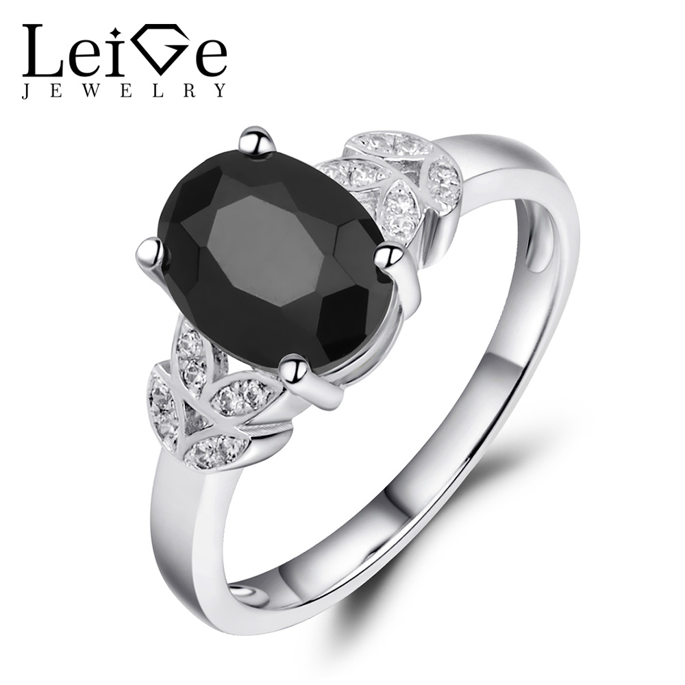 Leige Jewelry Natural Gemstone Fine Jewelry Black Spinel Ring Oval Cut 925 Sterling Silver Dinner Rings For Women Romantic Gift