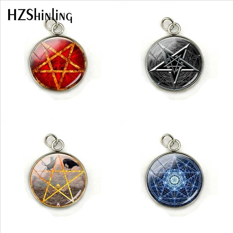 2019 New Vintage Pentagram Pendants Wiccan Pendant Occult Jewelry Glass Dome Stainless Steel Charms Gifts for Men Women