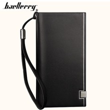 2019 Baellerry Men Long Wallets Card Holder Zipper Hasp Soft Purse Casual Business Phone Coin Pocket Simple Male Wallet