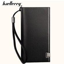2019 Baellerry Men Long Wallets Card Holder Zipper Hasp Soft Men Purse Casual Business Phone Coin Pocket Simple Male Wallet недорого