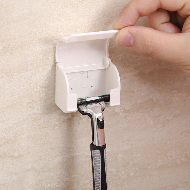 Wall-mounted Shaver Shelf Plastic Razor Rack Sucked Sticky Cup Shaving Razor Holder Bathroom Accessories