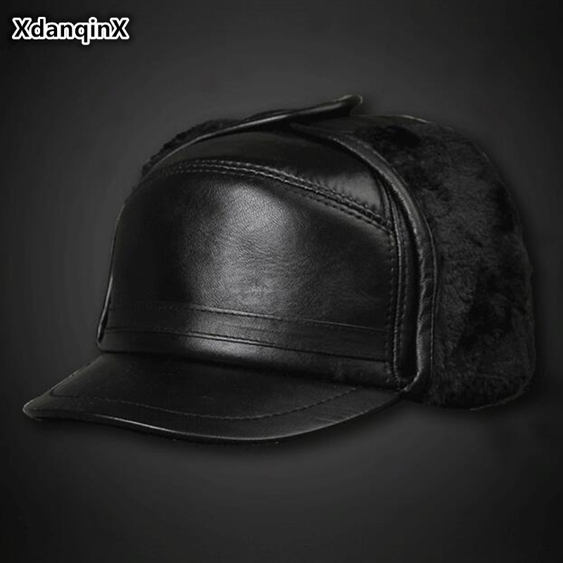 XdanqinX Winter Genuine Leather Hat Men's sheepskin Warm Bomber Hats With Ears  Middle-aged Velvet Thick Dad's Earmuffs Ski Caps(China)