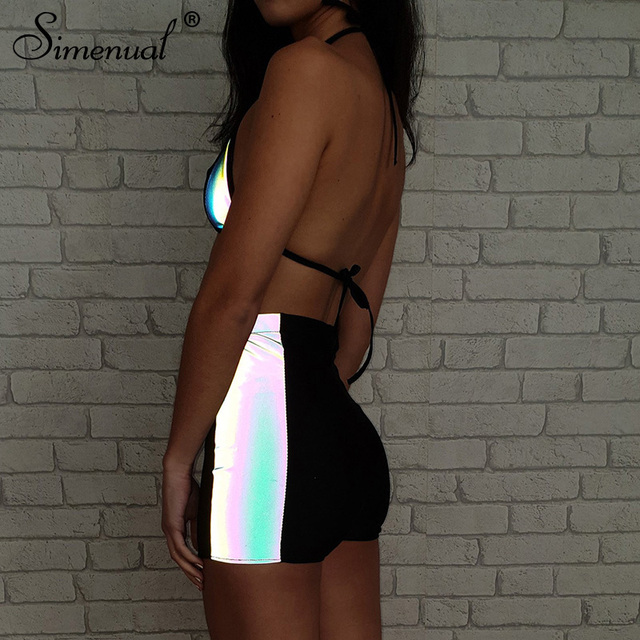 Simenual Casual Fashion Women Two Pieces Set Reflective Sexy Patchwork Tracksuits Summer Hot Bralette And Shorts Sets Fitness 2