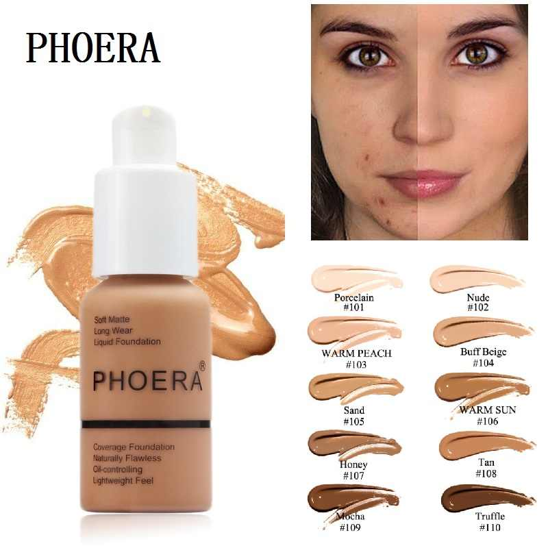PHOERA 10 Colors Liquid Full Cover Concealer Foundation Mineral Facial Base Cream Coverage Brighten Moisturizer Makeup TSLM1