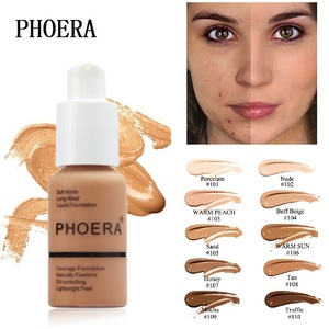 PHOERA Foundation Makeup 10 Colors Liquid Matte Moisturizer Face Base High Coverage Brighten Concealer Cream Fond De Teint TSLM1(China)
