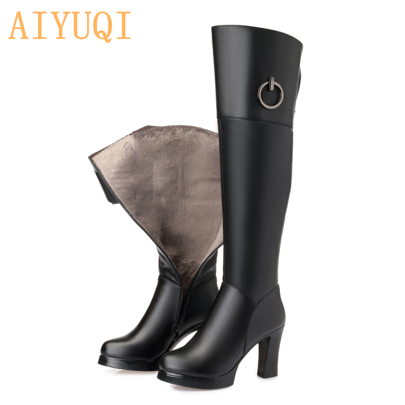 AIYUQI Thigh high boots women 2019 new genuine leather winter fashion over knee thigh shoes