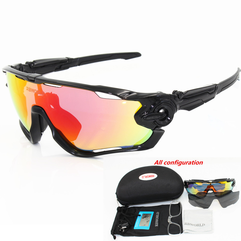 3 Lens Polarized Goggles Men Women Cycling Sunglasses Eyewear Running Sport Bicycle Glasses MTB  TR90 Frame Clear lens Jaw