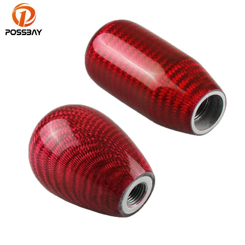 POSSBAY Universal Carbon Fiber Car Gear Shift Knob Shifter Lever Manual MT Gear Shift Stick Lever Knob Head Red Interior Decor universal 5 speed aluminum manual car gear stick shift knob shifter lever leather