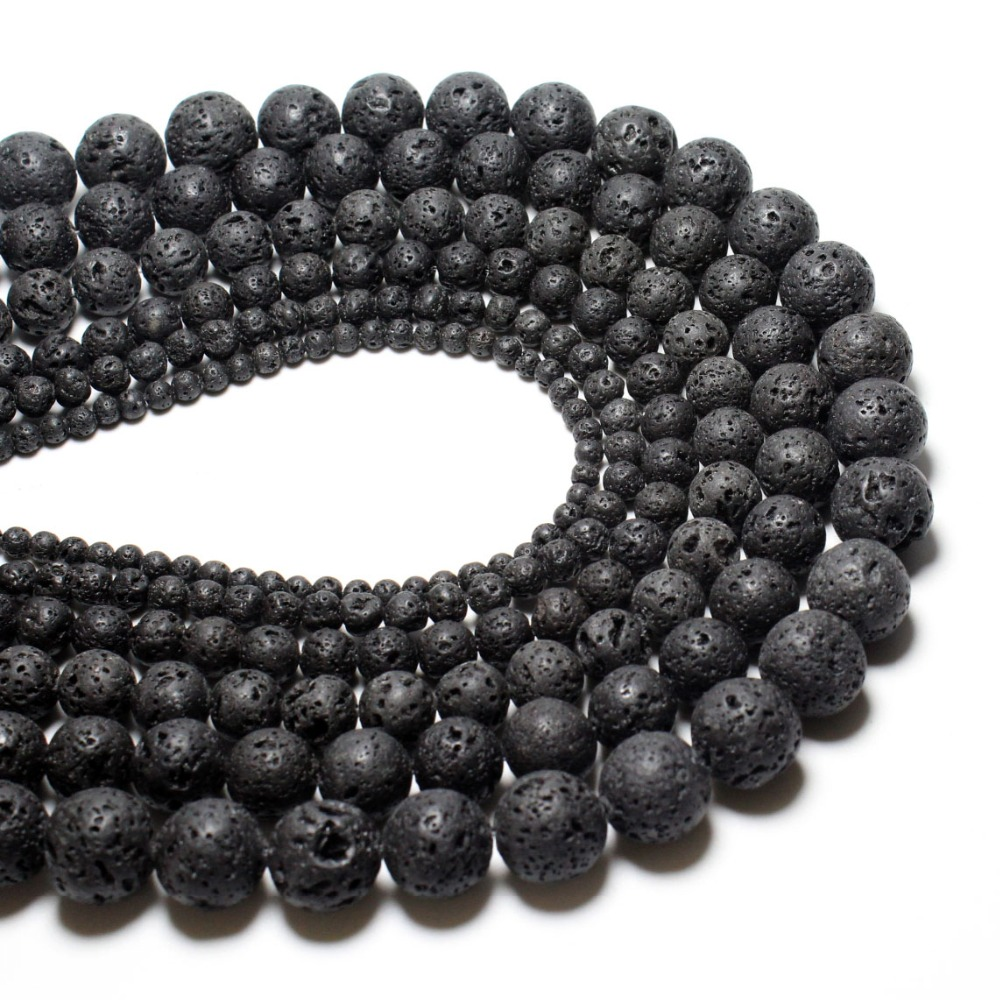 Wholesale Natural Black Lava Rock Volcanic Beads For jewelry Making DIY Necklace Bracelet Material 4 6
