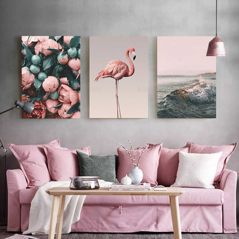 Nordic Style Canvas Painting Romantic Flamingo Rose Sea Wave Print Painting Modern Wall Art Poster Home Decoration no Frame