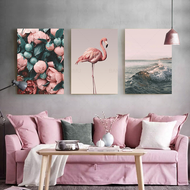 Nordic Style Canvas Painting Romantic Flamingo Rose Sea Wave Print Modern Wall Art Poster Home Decoration No Frame