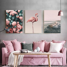 Nordic Style Canvas Painting Romantic Flamingo Rose Sea Wave Print Painting Modern Wall Art Poster Home Decoration no Frame(China)
