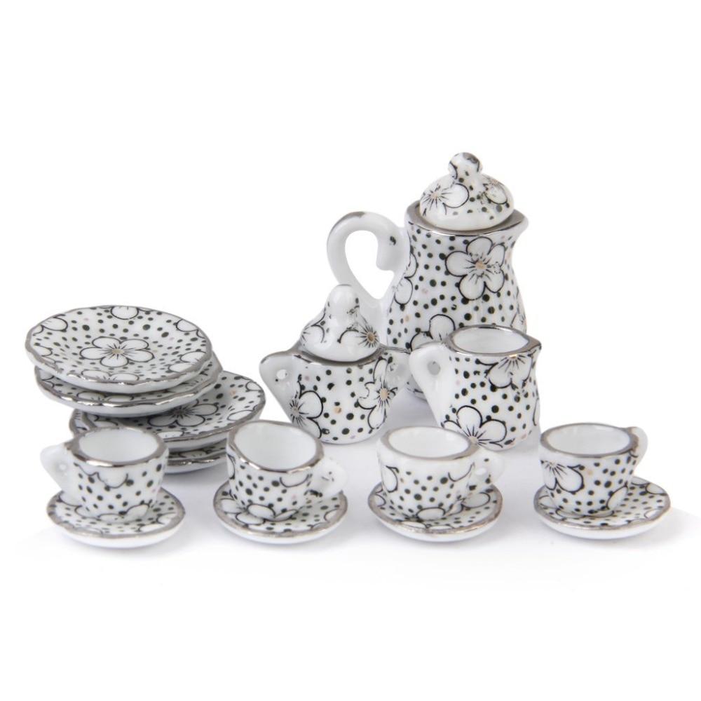 15Pcs Porcelain Tea Set Eating Utensils Daisy Pattern For Doll House Children Classic Pretend Play Toys