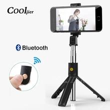 COOLJIER 2019 جديد سماعة لاسلكية تعمل بالبلوتوث Selfie عصا حامل أحادي القوائم قابل للتمديد 3 في 1 العالمي ترايبود صغير آيفون XR X 8 7 6s
