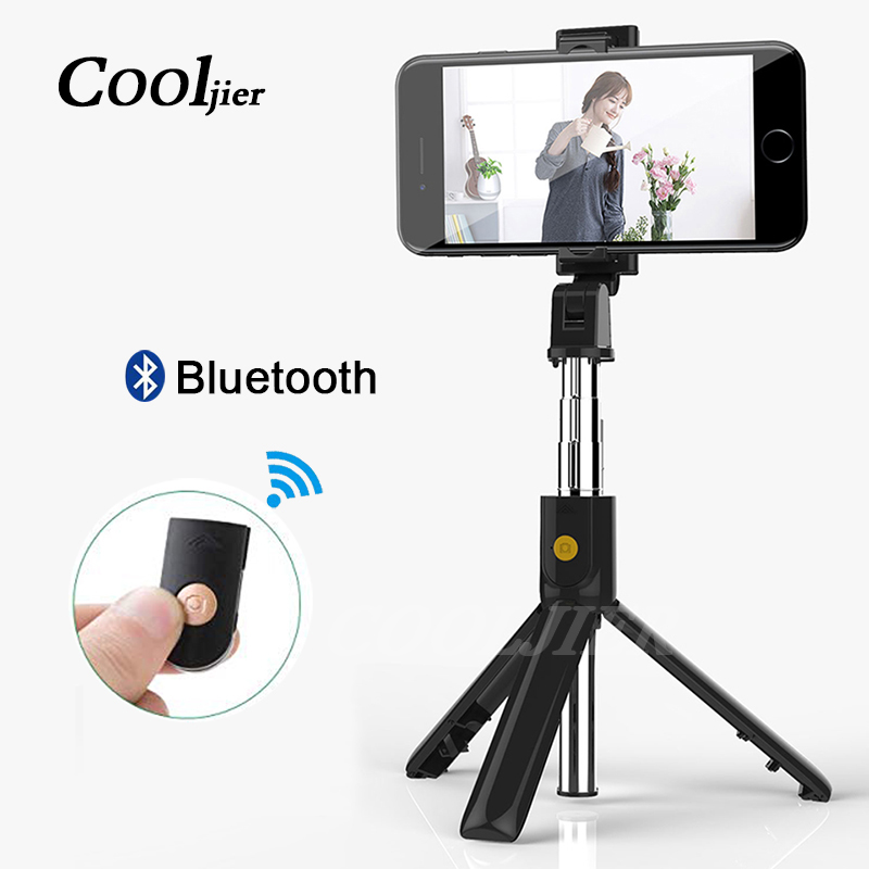 COOLJIER 2019 New Wireless Bluetooth Selfie Stick Extendable Monopod 3 In 1 Universal Mini Tripod For IPhone XR X 8 7 6s
