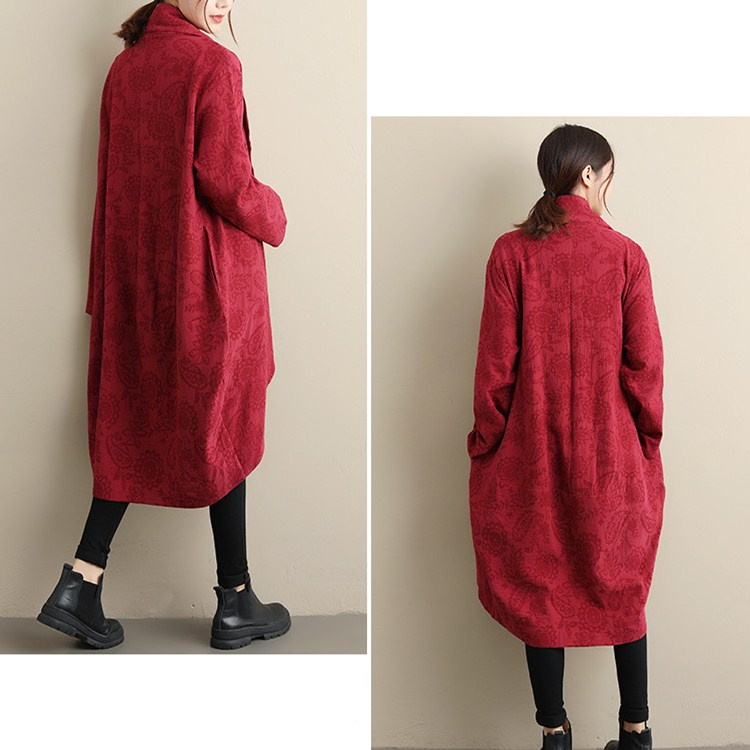 Print Windbreaker Spring Autumn Coat Cloak Loose red Floral blue Women Trench Cotton Pockets Long Thin Black Sleeve IOpqw5xWx