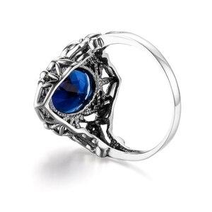 Image 4 - Szjinao Sapphire Rings owalny kwiat elegancki wiktoriański ciemny niebieski kamień szlachetny pierścień 925 Sterling silver Carve Kate Fine Jewelry Wedding