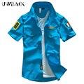 2016 Moda Casual Camisa do Verão dos homens Air Force One Camisa Camisas de Algodão de Manga Curta Mais o Tamanho Da Ásia WA795