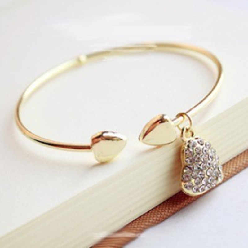 Promotion Price!Fashion Simple Rhinestone hollow heart bracelet Bangle Jewelry Free Shipping!
