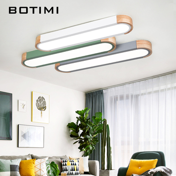 BOTIMI Office 220V LED Ceiling Lights With Metal Lampshade For Living Room Long Shaped Bedroom Wooden Surface Mounted Lighting 1
