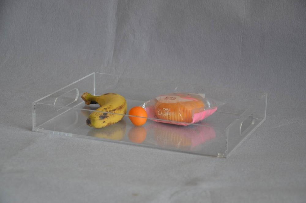 Прямоугольный прозрачный акрил сервировочные лотки с ручкой для напитков, фруктов, тортов, игрушек YAT-001-1-2
