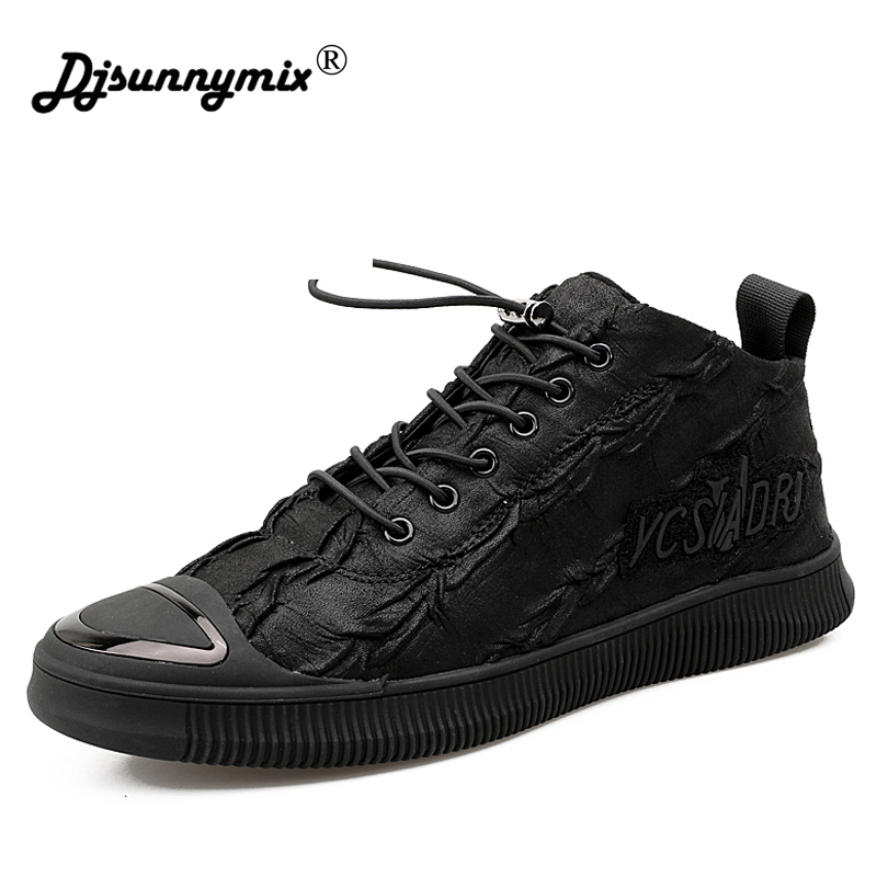 DJSUNNYMIX Brand hot sale running shoes for men sneakers high quality leather waterproof Slip-On black sport shoes
