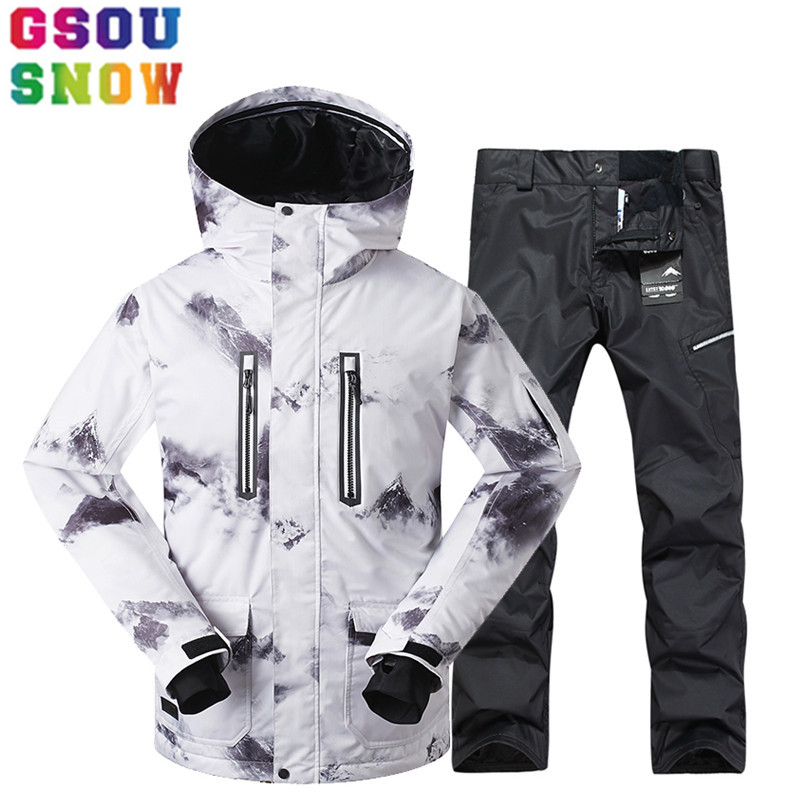 GSOU SNOW Brand Winter Ski Suit Men Ski Jacket Pants Waterproof Mountain Skiing Suits Male Snowboard Sets Outdoor Sport Clothing gsou snow brand ski suit men ski jacket pants snowboard sets waterproof mountain skiing suit winter male outdoor sport clothing