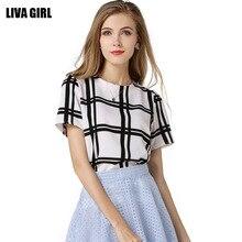 The new dress 2016 joker temperament top fashion big white and black square yards short sleeve chiffon unlined upper garment