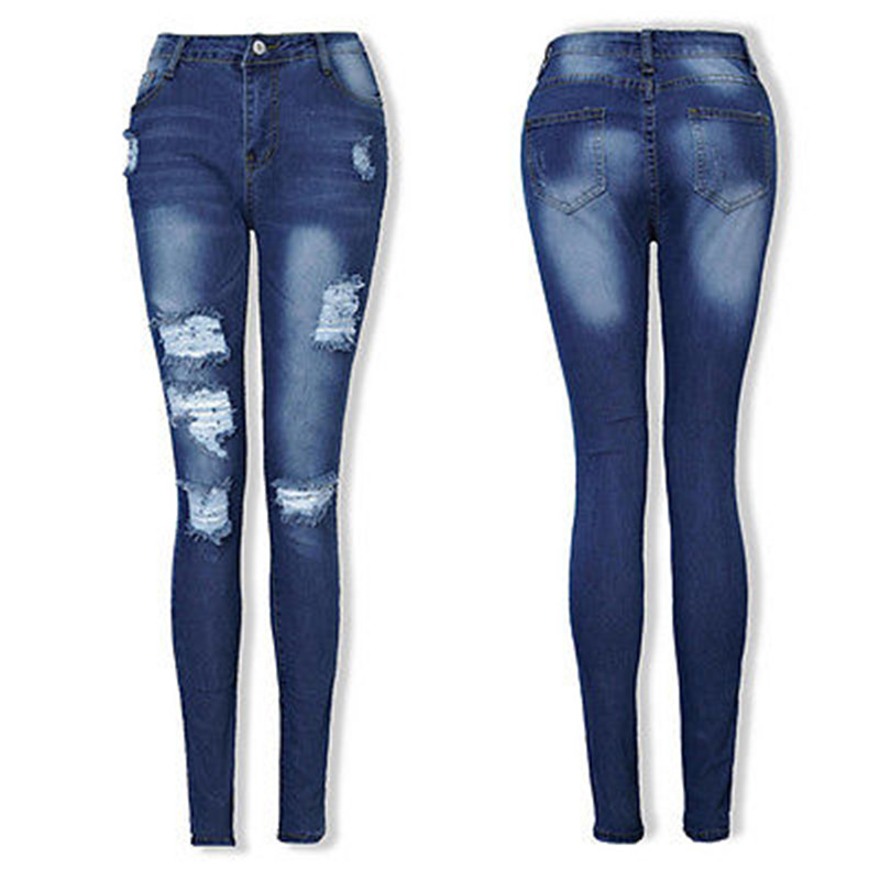 Fashion Women Sexy Denim Trousers Jean Destroyed Ripped Distressed Slim Casual Pants Boyfriend Jeans