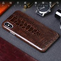 Luxury Natural leather Phone Cases For iPhone 7 8 Plus X Xs Max Case Real Ostrich Foot skin Back Cover For 6 6s 6p 7p 8p case