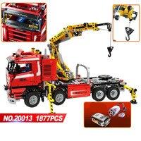 NEW 20013 Technic Series 1877pcs The Electric Crane Truck Model Building Blocks Bricks Compatible Legoinglys 8258 Birthday