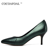 COCOAFOAL Woman Wedding Pumps Black Green Plus Size 33 43 Fashion Sexy High Heels Shoe Snakeskin Stiletto Genuine Leather Pump