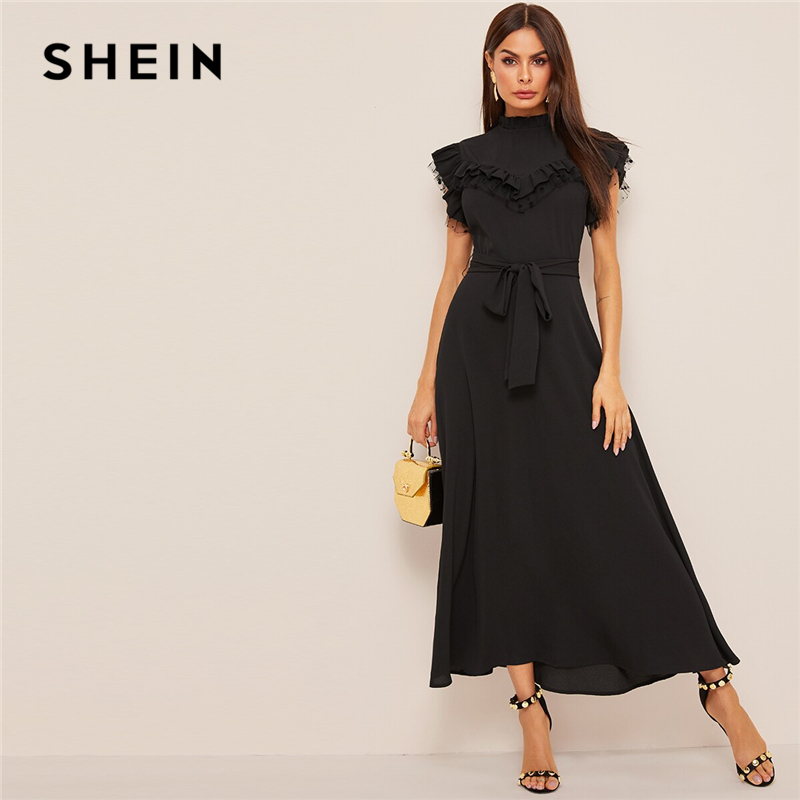 a06e04bb01 SHEIN Layered Ruffle Detail Belted Fit And Flare Dress 2019 Stand Collar  Sleeveless Black Solid Women