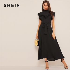 Image 1 - SHEIN Layered Ruffle Detail Belted Fit And Flare Dress 2019 Stand Collar Sleeveless Black Solid Women Spring Autumn Dresses
