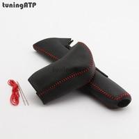 Genuine Leather Cover For Honda Civic Mk9 Automatic Gear Shift Knob Handbrake Grip Red Black Stitch