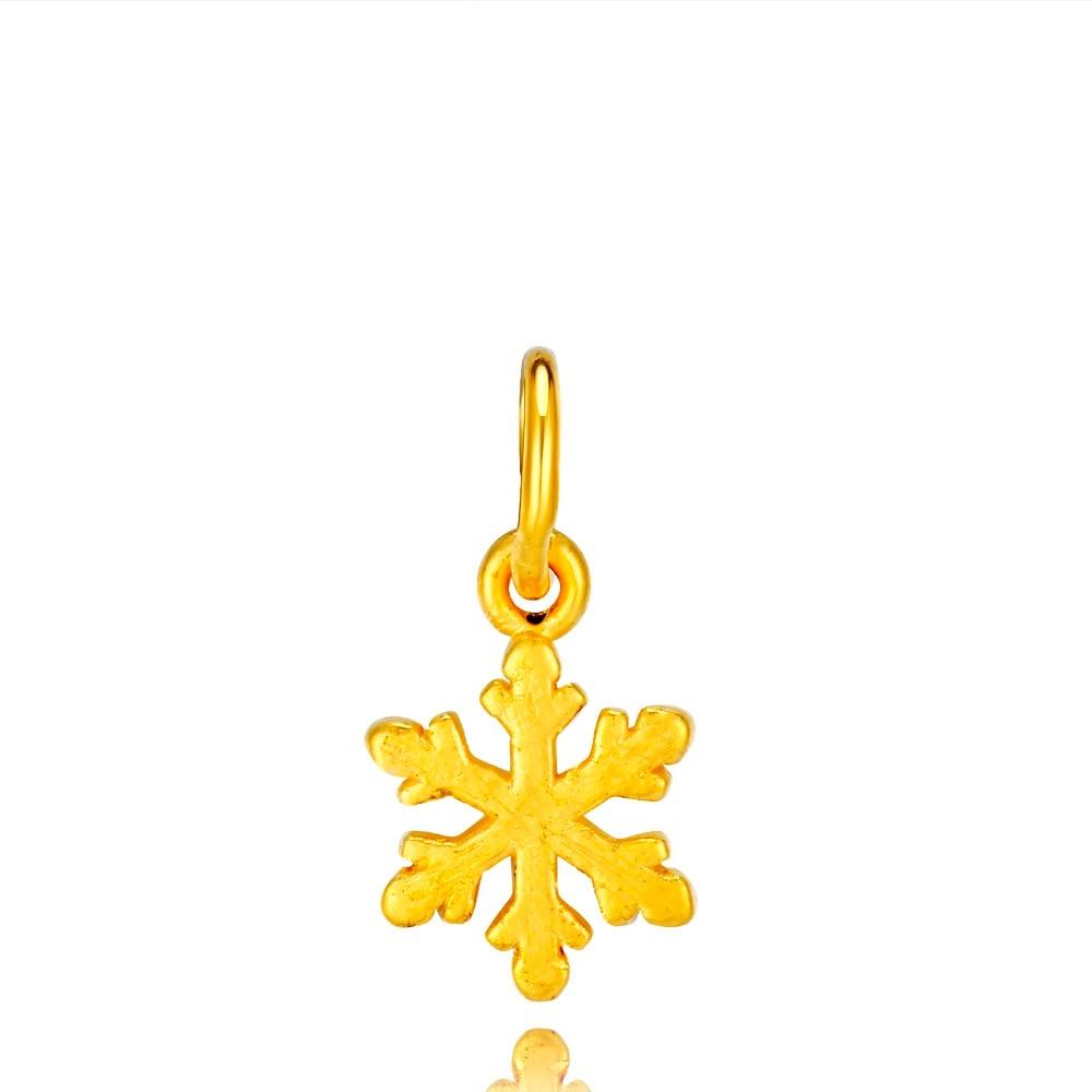 RINYIN 999 Gold Pendant Necklace 3D Hard Gold Pure 24K Yellow Gold Snow Charm DIY Bracelet