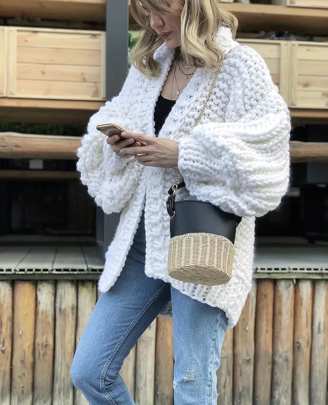 Women White Oversized Knitted Cardigan Winter Thick Loose Korean Sweaters Fashion Coat Female Poncho New Year's Sweater Cape
