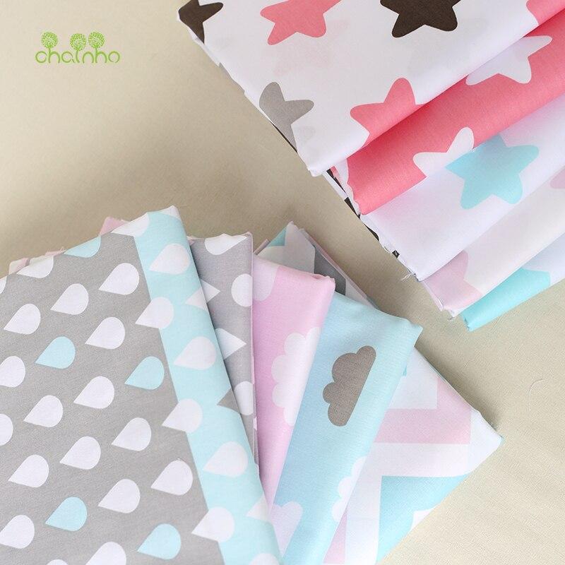 Tela de algodón de sarga impresa para coser acolchado estrella y nube sábanas de cama de bebé ropa de dormir niños vestido falda Material