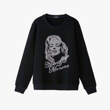 Yamy mujeres Marilyn Monroe sudadera con Diamantes con piedras falsas manga  larga negro mujeres Jersey jersey de Invierno 2017 r. 8eefbaa27fa