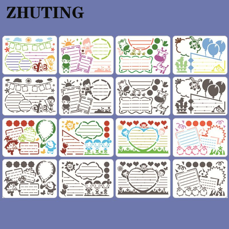 8pcs/set Kids Hand Copy Painting Drawing Template Rulers A4 Stencils DIY Painting Mold School Supply Tools Craft Children Gifts
