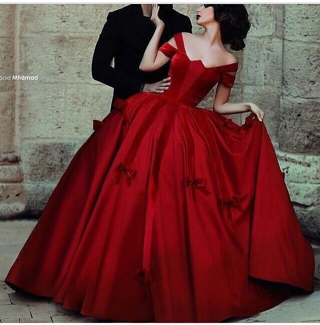 Vintage Wedding Dresses Red: Red Wedding Dress CJ0221 Cap Sleeve Ball Gown Fluffy