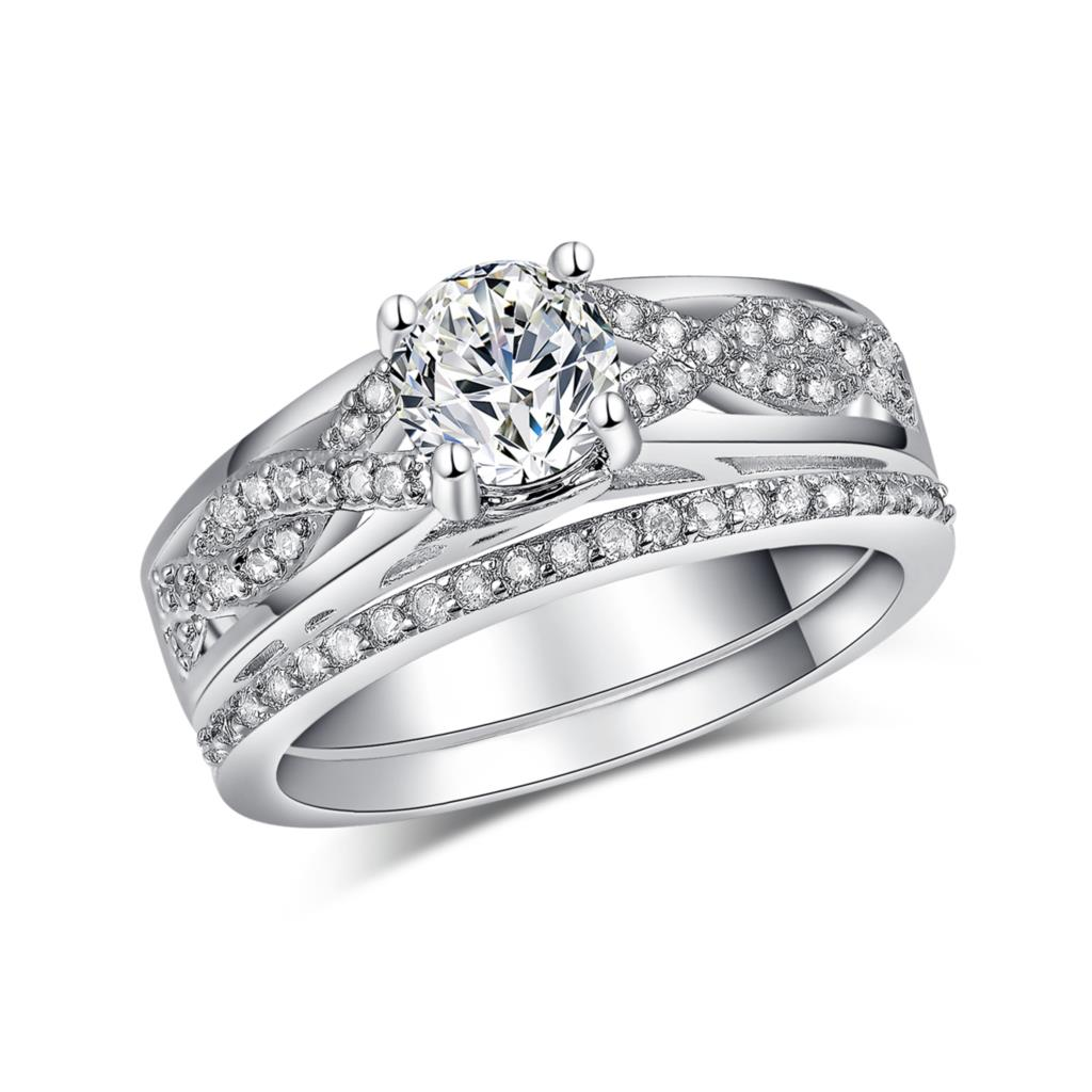 romantic women wedding silver plated ring jewelry zircon engagement cz finger jewellery ring sets us 6 7 8 9 FINGER RINGS GIFT