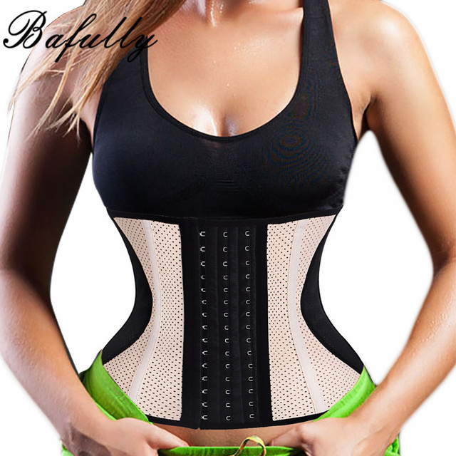 f4826bb0f5c24 Steel Bone Waist Trainer Latex Rubber Cincher Corset Thermo Sweat Sauna  Body Shaper Fitness Slimming Belly Belt Women Shapewear