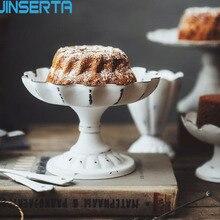 JINSERTA, металлический поднос для сервировки ювелирных изделий, демонстрационная тарелка, Ретро стиль, белый десерт, фруктовый торт, закуски, высокая тарелка, для дома, вечерние, свадебные украшения